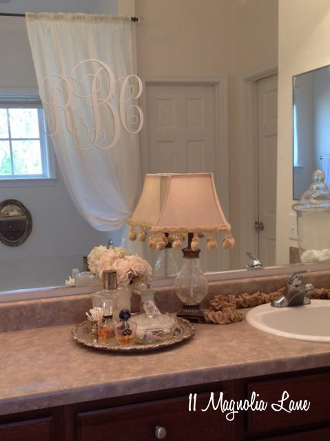 master bathroom mirror monogram