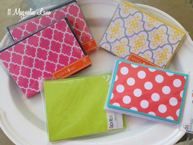 quatrefoil, chevron, and polka dot notecards