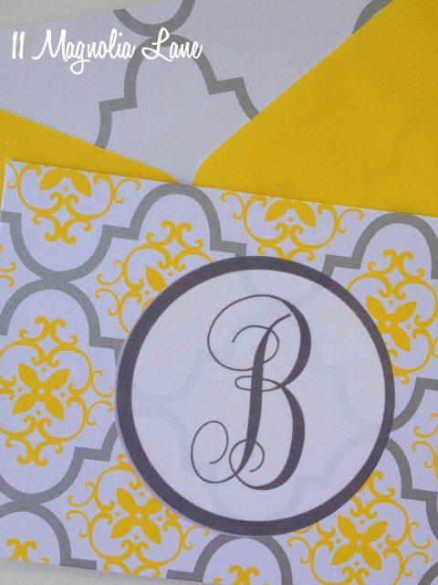 yellow gray quatrefoil damask diy monogrammed notecards
