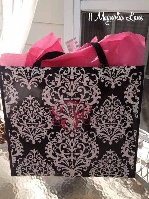 black damask tote monogram