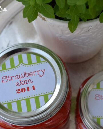 Homemade Strawberry Freezer Jam and Free Printable Jar Labels