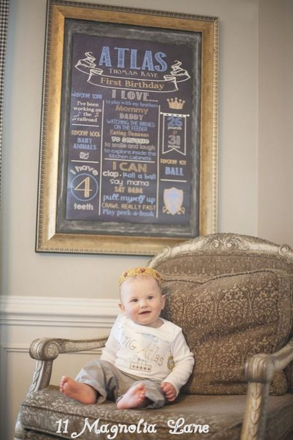 King Themed Frist Birthday Chalk Board Poster