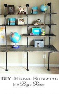 DIY Industrial Shelving & Desk {in a boy's room}