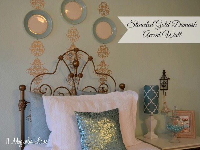 gold stenciled accent wall