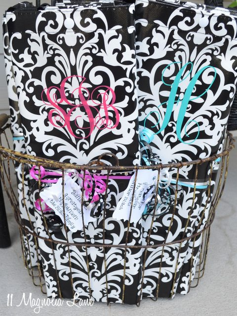 monogrammed reusable shopping tote bags