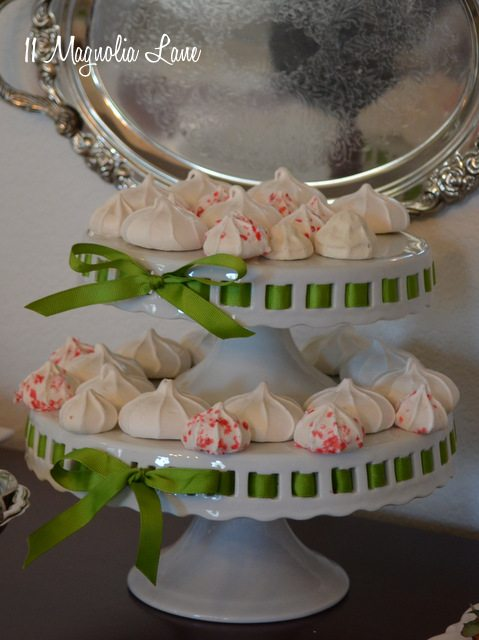 Meringues on dessert tier