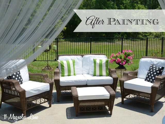 Spray painted outdoor fabric cushions