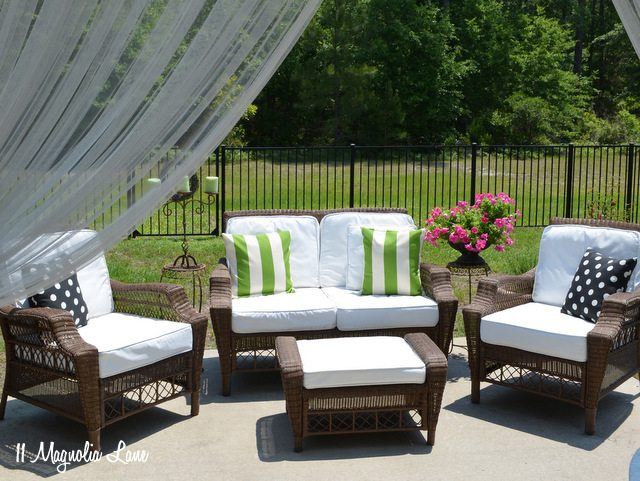 Spray painted outdoor cushions and pillows