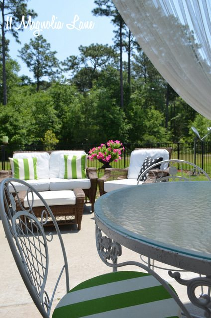 DIY spray painted outdoor cushions