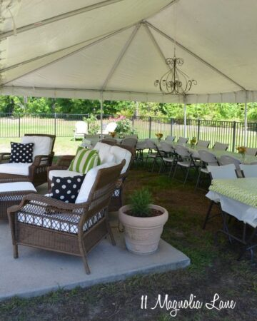 Backyard tent for a party!