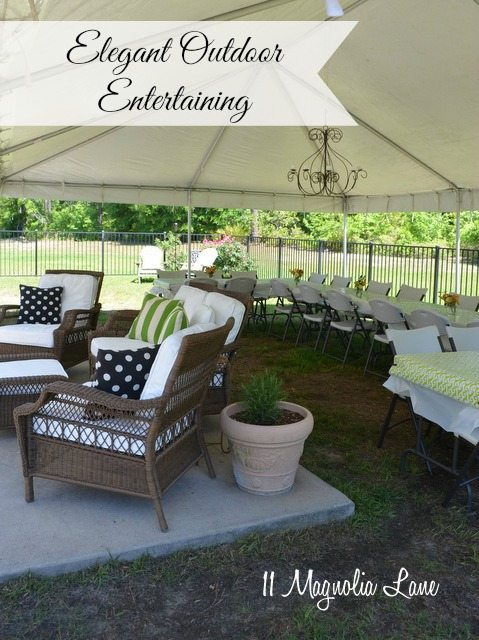 outdoor entertaining tent chandelier