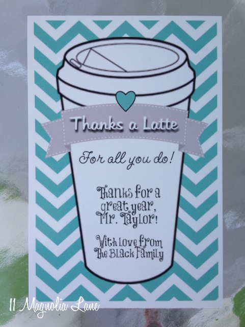 Thanks a latte black chevron aqua gift card