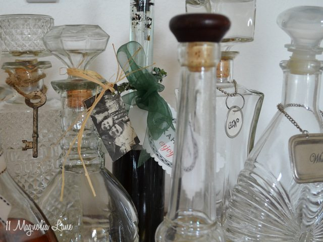 vintage decanters decorated
