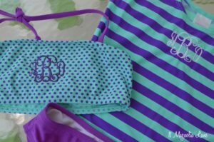 Monogrammed tween girls swim suit