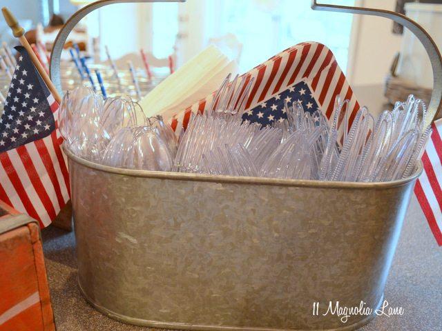 Galvanized utensil caddy