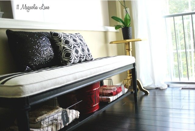 Black and White Bench Seat and Gold End Table