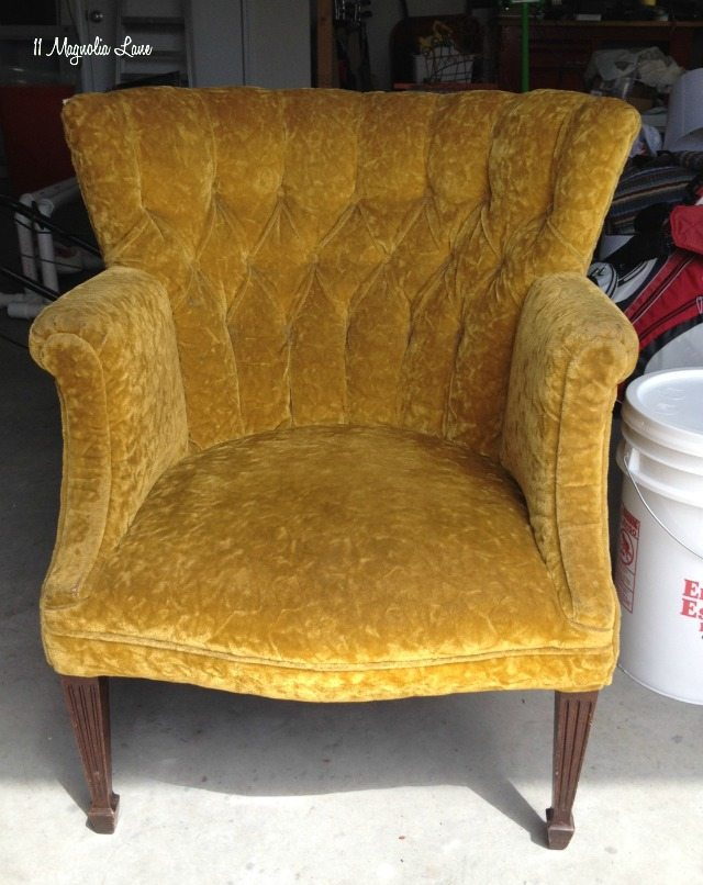 Gold velvet thrift store chair