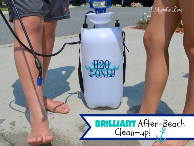 Deck sprayer as after-beach shower!