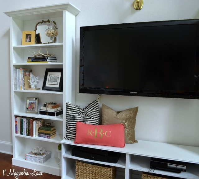 IKEA Billy built in shelves TV unit