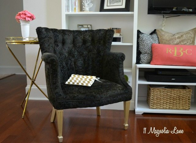 Black velvet painted chair