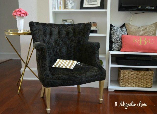 Black velvet painted chair