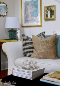 Teal blue and gold living room
