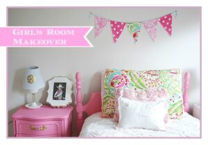 A fun girl's room in pink, white and gold