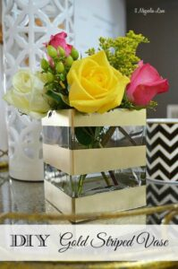 DIY Gold Striped Vase | 11 Magnolia Lane