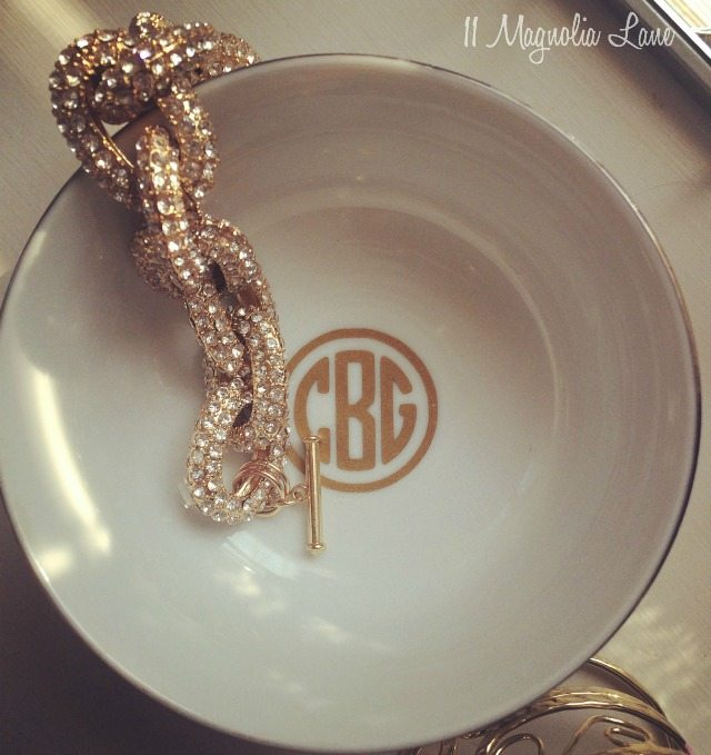 Jewelry bowl with round gold monogram--great gift idea