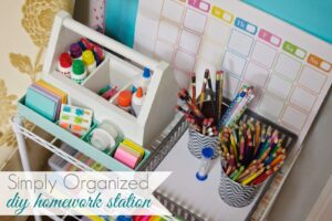 An organized area for school supplies makes homework a breeze