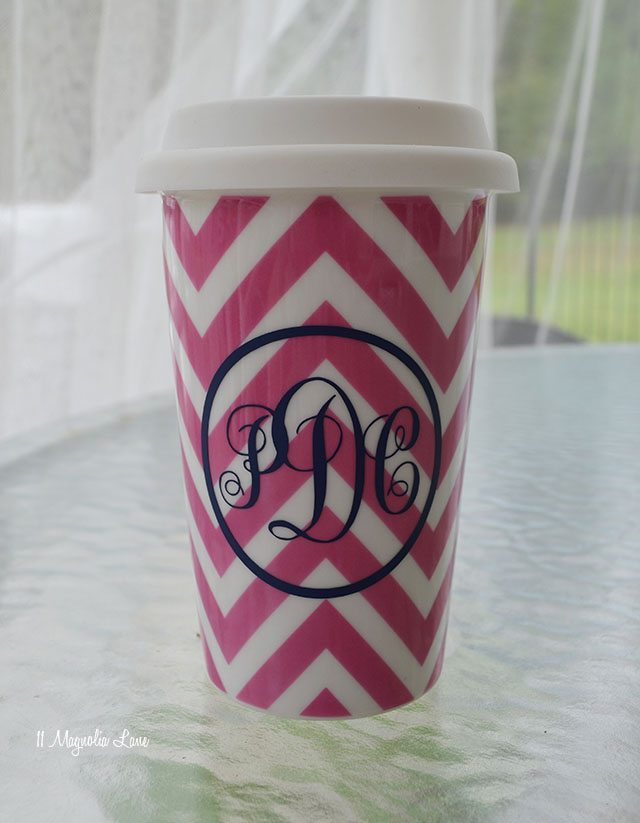 Monogrammed To Go Coffee Mug Gift Idea | 11 Magnolia Lane