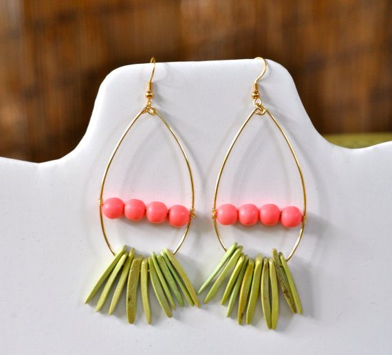 Wood Spike Earrings | 3 Little Beads Etsy