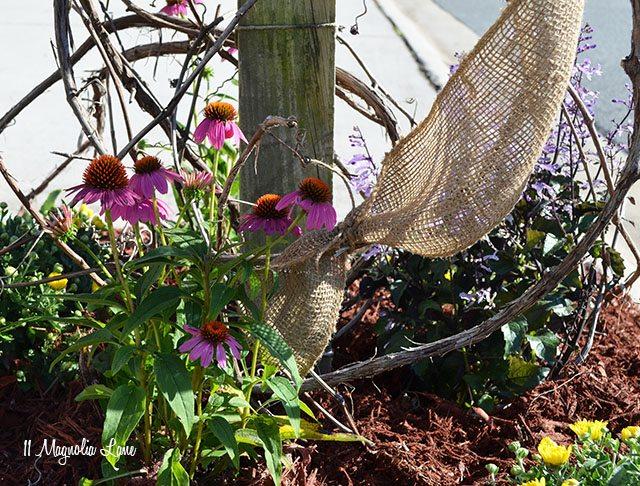 Burlap and grapevine Fall mailbox   11 Magnolia Lane