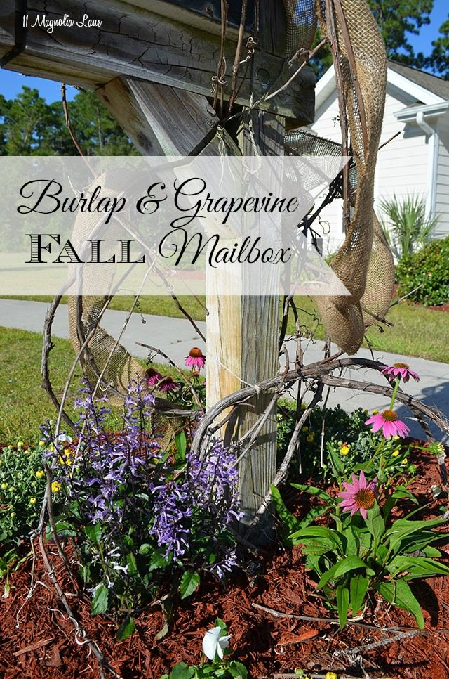 Burlap and grapevine Fall mailbox | 11 Magnolia Lane