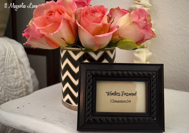 Frame the wireless password and put it in the guest room | 11 Magnolia Lane