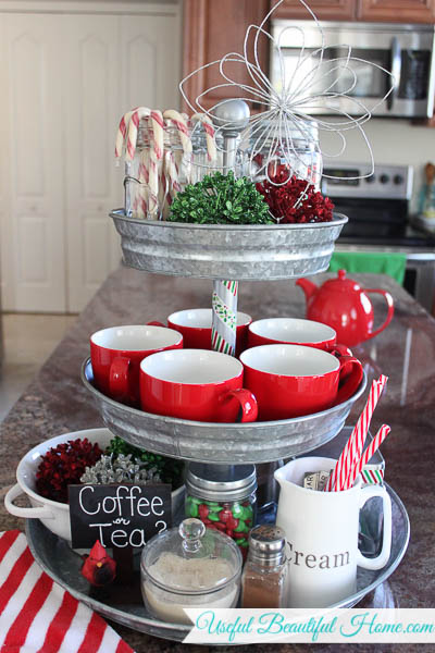Decorate a galvanized three-tiered stand for the holidays
