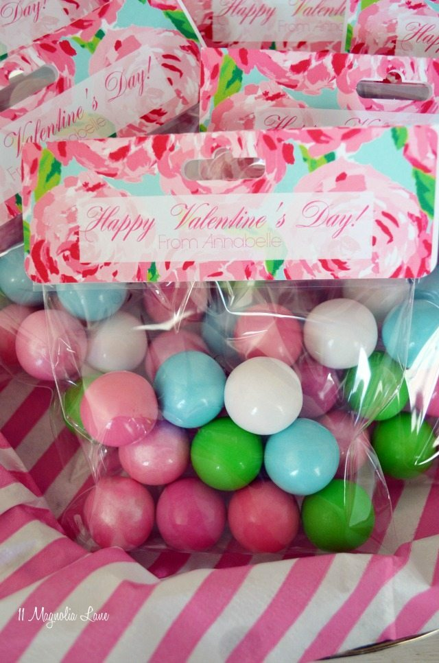 """Lilly Pulitzer inspired """"First Impressions"""" Valentine's treat bags with gum balls 