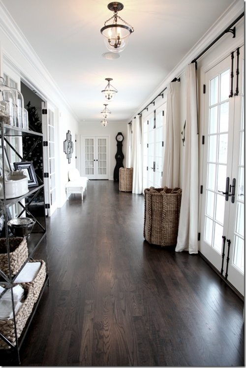 Dark hardwood floors hallway
