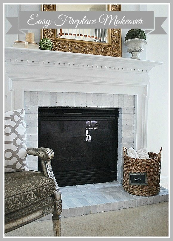 fireplace-makeover-header-marked, easy way to update your brick fireplace. How to paint the brick to affordably update a dark fireplace.