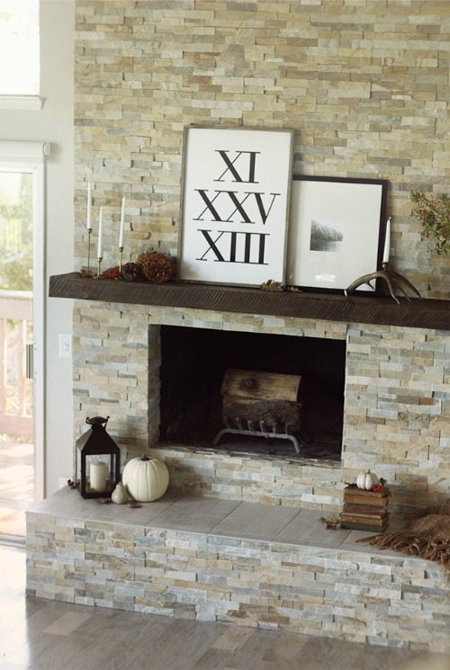 Stacked stone ledger fireplace
