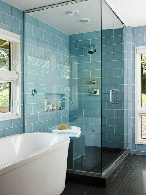 Blue shiny glass tile