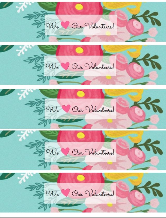 Free printable water bottle labels for volunteer appreciation | 11 Magnolia Lane
