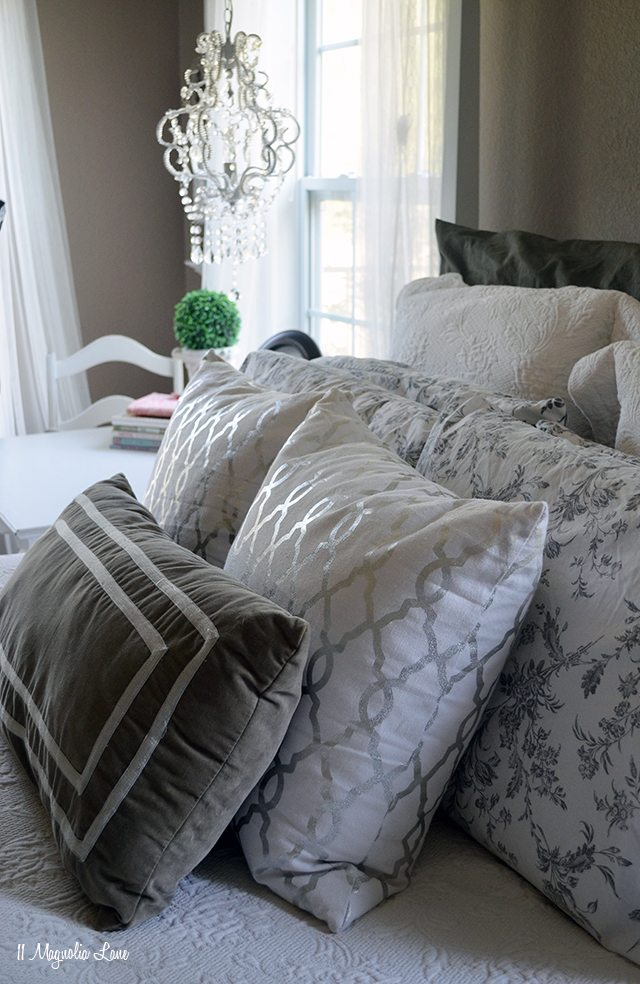 Master bedroom in grey and whites | 11 Magnolia Lane