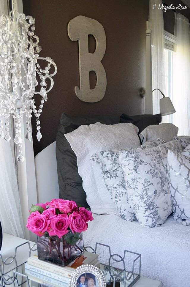 Master bedroom in grey and whites   11 Magnolia Lane