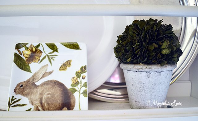 Easy bunny plate and topiary | 11 Magnolia Lane