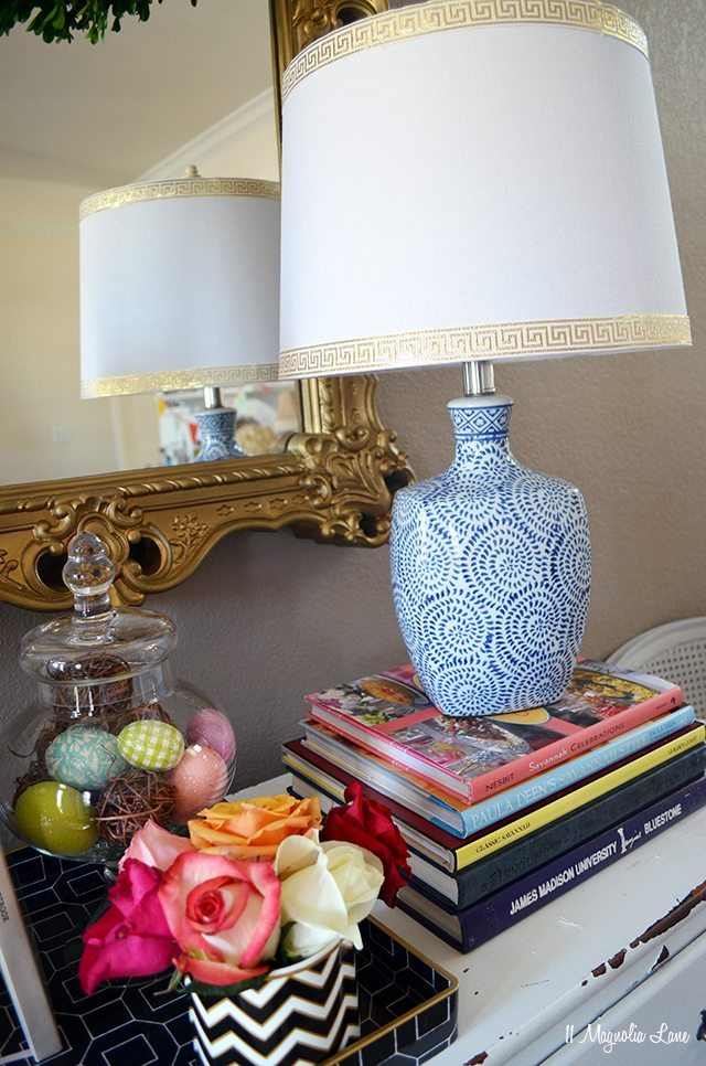 Blue and white lamp with gold Greek key trim | 11 Magnolia Lane