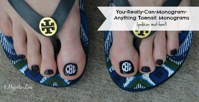Monogrammed toenails for your next pedicure | 11 Magnolia Lane