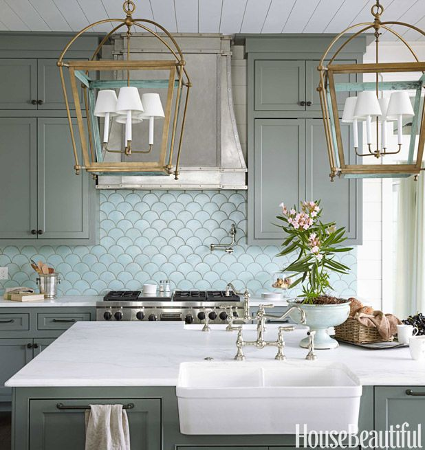 Beautiful kitchen in blues from Urban Grace Interiors | via House Beautiful