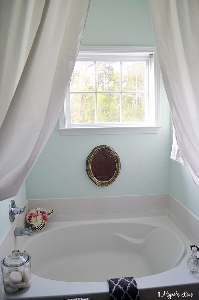 Spa-like bathroom in aqua and grey | 11 Magnolia Lane