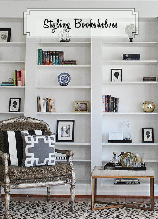 These bookshelves started as inexpensive IKEA Billy bookshelves, tips on styling them.